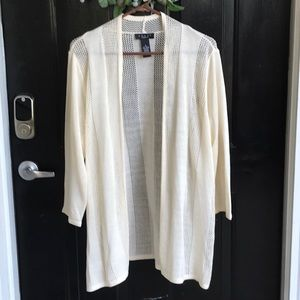 Very nice cream colored open weave cardigan. Sz XL